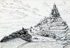 Paisaje con el castillo de la fantasía Foto de archivo