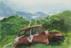 Paisaje con el coche - watercolour Imagen de archivo