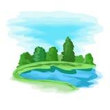 Paisaje con el lago Foto de archivo