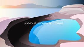 Paisaje con el lago y el mar en el fondo Ilustración del vector Azul, rosa, colores de oro ilustración del vector
