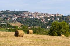 Paisaje con el panorama de Chianciano Foto de archivo