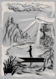 Paisaje con el pescador ilustración del vector