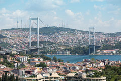 Paisaje con el puente de Ataturk Fotos de archivo