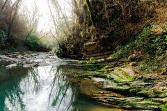 Paisaje con el río Agura de la montaña fotos de archivo