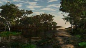 Paisaje con el río ancho Imágenes de archivo libres de regalías