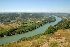 Paisaje con el río de Rhone, Francia Fotografía de archivo