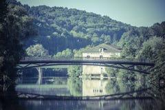 Paisaje con el río Vezere Fotografía de archivo libre de regalías