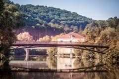 Paisaje con el río Vezere Foto de archivo libre de regalías