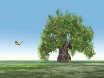 Paisaje con el solos árbol y mariposa Imagen de archivo