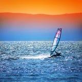 Paisaje con el windsurfer Fotos de archivo libres de regalías