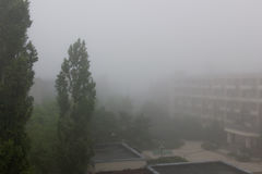 Paisaje con la casa y el árbol en niebla Fotos de archivo