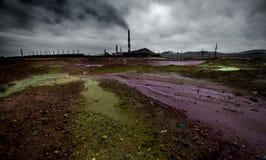 Paisaje con la contaminación de la ecología imagen de archivo