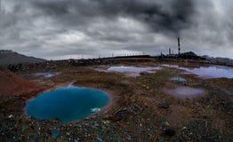 Paisaje con la contaminación de la ecología foto de archivo libre de regalías