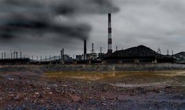 Paisaje con la contaminación de la ecología fotografía de archivo libre de regalías