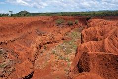 Paisaje con la erosión de suelo, Kenia Fotos de archivo libres de regalías