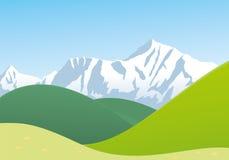 Paisaje con la montaña y las colinas Fotografía de archivo