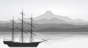 Paisaje con la nave vieja detallada stock de ilustración
