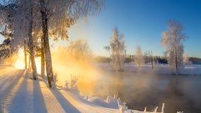 Paisaje con la niebla en el río con el bosque, Rusia, los Urales de la mañana del invierno Fotografía de archivo libre de regalías