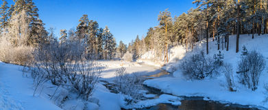 Paisaje con la niebla en el río con el bosque, Rusia, los Urales de la mañana del invierno Imagenes de archivo