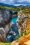 paisaje con la orilla del océano en Asturias, España Imagenes de archivo
