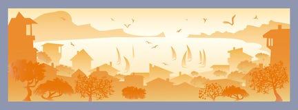Paisaje con la pequeña ciudad stock de ilustración