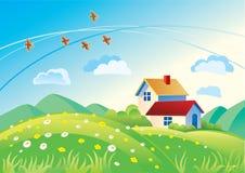 Paisaje con las casas Imagen de archivo
