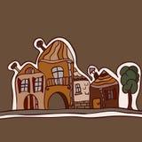 Paisaje con las casas viejas Imagen de archivo