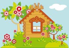 Paisaje con las casas y los árboles florecientes ilustración del vector