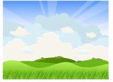 Paisaje con las colinas y las nubes stock de ilustración