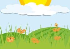 Paisaje con las flores anaranjadas ilustración del vector
