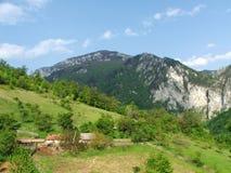 Paisaje con las montañas, los árboles y las casas Imagen de archivo libre de regalías