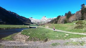 Paisaje con las montañas y la pequeña corriente del río, cielo azul, los Pirineos franceses almacen de video