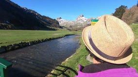 Paisaje con las monta?as y la peque?a corriente del r?o, cielo azul, los Pirineos franceses almacen de video