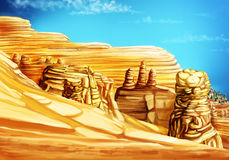 Paisaje con las montañas y la arena Foto de archivo libre de regalías
