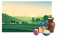 Paisaje con las vacas y los productos lácteos Fotos de archivo libres de regalías