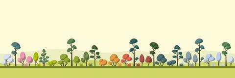 Paisaje con los árboles, cuatro estaciones ilustración del vector