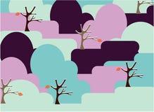 Paisaje con los árboles y las hojas Stock de ilustración