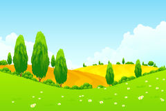 Paisaje con los árboles y los campos verdes Fotos de archivo libres de regalías