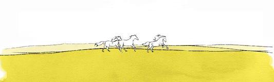 Paisaje con los caballos Foto de archivo