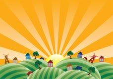 Paisaje con los campos de granja ilustración del vector