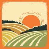 Paisaje con los campos en el cartel viejo Imagen de archivo libre de regalías