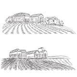 Paisaje con los campos y la casa del pueblo Imagen de archivo libre de regalías