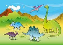 Paisaje con los dinosaurios Foto de archivo libre de regalías