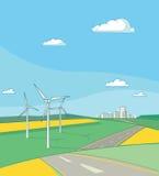 Paisaje con los generadores de viento Fotos de archivo
