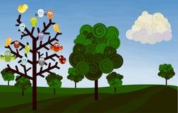 Paisaje con los pájaros Foto de archivo