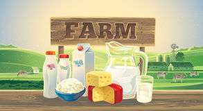 Paisaje con los productos lácteos Fotos de archivo libres de regalías