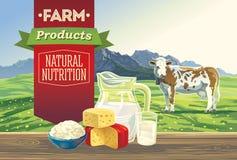Paisaje con los productos lácteos stock de ilustración