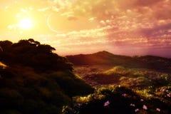 Paisaje con puesta del sol Fotos de archivo