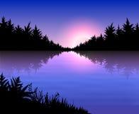 Paisaje con puesta del sol Imágenes de archivo libres de regalías