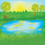 Paisaje con salida del sol, el prado y el lago Fotografía de archivo